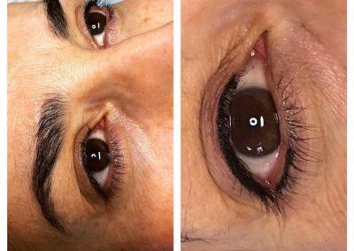 Voorbeeld eyeliner voor en na